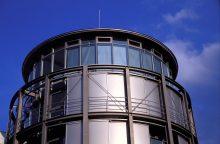 Niedersächsische Staats- und Universitätsbibliothek Göttingen (SUB), Neubau am Geisteswissenschaftlichen Campus, Turmartige Eingangsrotunde, aufgenommen möglicherweise 2004, Foto: Ronald Schmidt